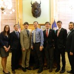 Members of the Students' Advisory Committee meet with Governor Sam Brownback