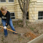 SGA Senator Morgan helps do yard work for the First Methodist Church