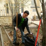 SGA Senator Gonzalez helps do yard work at the First Methodist Church