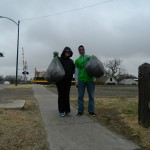 Senator Gress & Gonzalez help with the 1st-13th st. sidewalk clean-up.